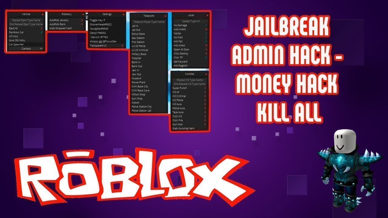 Jailbreak Admin Hack Money Hack Kill All Rainbow Car